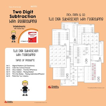 Two Digit Subtraction Regrouping, With Regrouping, Across Zeros Worksheets
