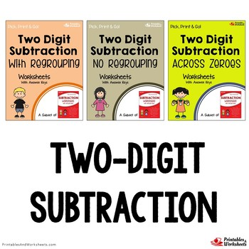 Subtracting 2 Digit Numbers Worksheets With Without Regrouping, Across Zeros