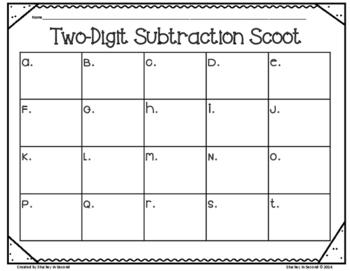 Two Digit Subtraction SCOOT (With & Without Regrouping)