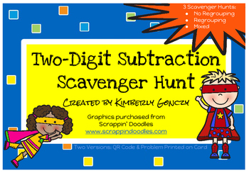 Two-Digit Subtraction Scavenger Hunt