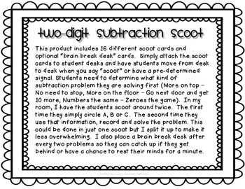 Two-Digit Subtraction Scoot