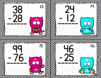 Two Digit Subtraction Task Cards-Numbers to 99  {24 Task Cards} Valentine's Day