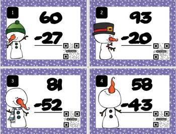 Two-Digit Subtraction Task Cards with Self Checking QR Code – WINTER Snowmen