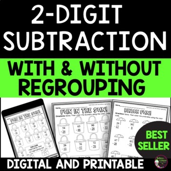 Two Digit Subtraction WITH  Regrouping and WITHOUT Regrouping (FREE)