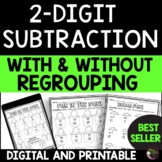 2-Digit Subtraction With and Without Regrouping Worksheets   Digital and Print