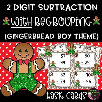 Two Digit Subtraction WITH  regrouping (Gingerbread boy theme)