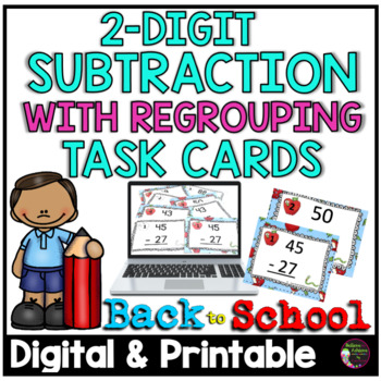 Two-Digit Subtraction WITH regrouping task cards (Back to School  theme)-FREE