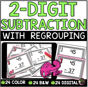 Two-Digit Subtraction WITH regrouping task cards (Dinosaur theme)