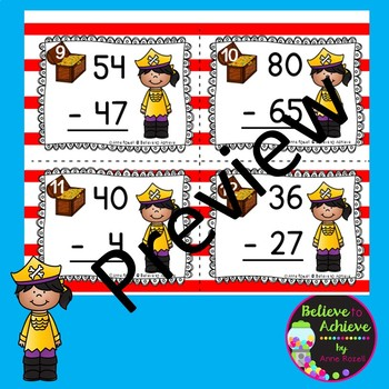 Two-Digit Subtraction WITH regrouping task cards (Pirate theme)
