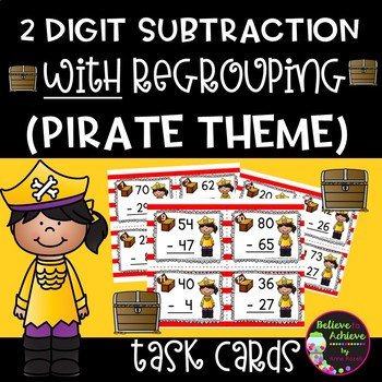 2-Digit Subtraction WITH regrouping task cards (Pirate theme)