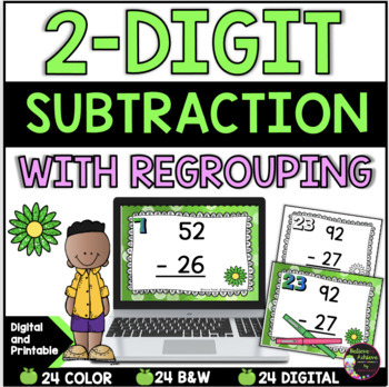 Two-Digit Subtraction WITH regrouping task cards (Spring theme)