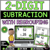 2-Digit Subtraction WITH regrouping task cards (Spring theme)