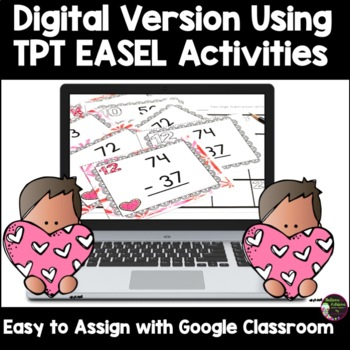 Two-Digit Subtraction WITH regrouping task cards (Valentine's theme)