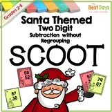 Christmas Math Two Digit Subtraction WITHOUT Regrouping Scoot:  Santa Themed