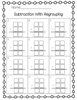 Two Digit Subtraction With Regrouping Scoot