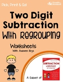 Subtracting 2 Digit Numbers With Regrouping Worksheets With Answer Keys