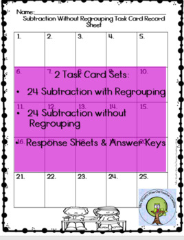 Two Digit Subtraction With & Without Regrouping No Prep