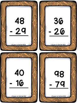 Two Digit Subtraction With and Without Regrouping Task Cards