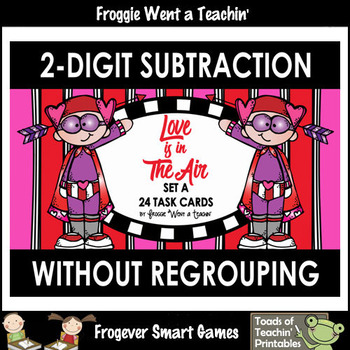 """Two-Digit Subtraction No Regrouping -- """"Love is in The Air"""""""