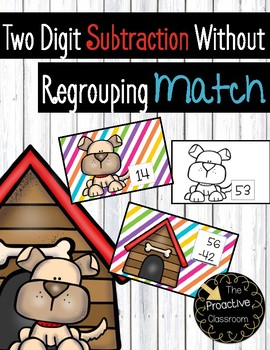 Two Digit Subtraction Without Regrouping Match Cards