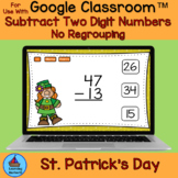 Two Digit Subtraction Without Regrouping St. Patricks Day fun