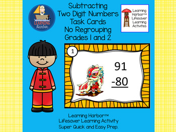 Two Digit Subtraction Without Renaming Task Cards  Chinese Lion Grades 1-2