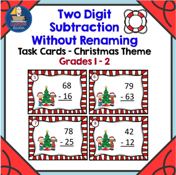 Two Digit Subtraction Without Renaming  Task Cards  Christmas Theme