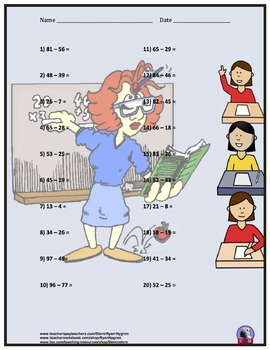 Two Digit Subtraction Worksheets - Back to School Themed - Horizontal
