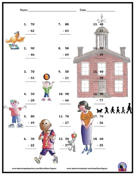 Two Digit Subtraction Worksheets - Back to School Themed - Vertical