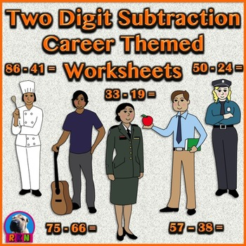 Two Digit Subtraction Worksheets - Community Helper/Career Themed - Horizontal