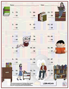 Two Digit Subtraction Worksheets - Community Helper/Careers - Vertical
