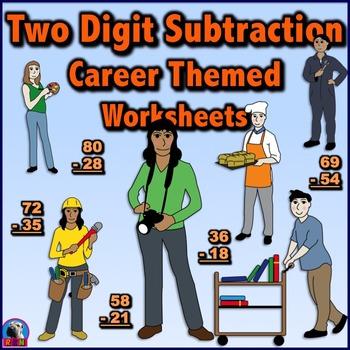 Two Digit Subtraction Worksheets - Community Helper/Career