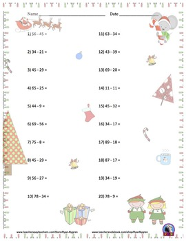 Two Digit Subtraction Worksheets - Christmas Themed - Horizontal