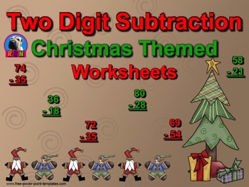 Two Digit Subtraction Worksheets - Christmas Themed - Vertical