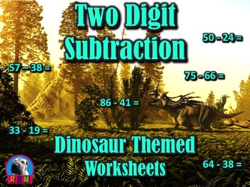 Two Digit Subtraction Worksheets - Dinosaur Themed - Horizontal