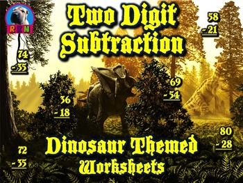 Two Digit Subtraction Worksheets - Dinosaur Themed - Vertical