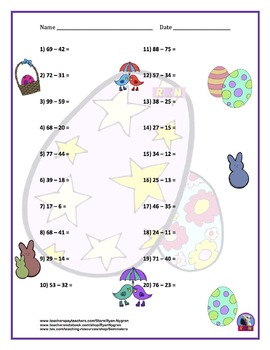 Two Digit Subtraction Worksheets - Easter Themed - Horizontal