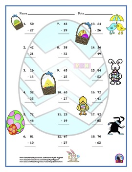 Two Digit Subtraction Worksheets - Easter Themed - Vertical