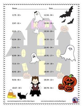 Two Digit Subtraction Worksheets - Halloween Themed - Horizontal