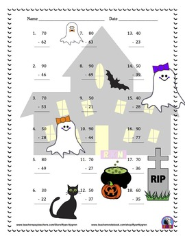 Two Digit Subtraction Worksheets - Halloween Themed - Vertical