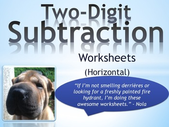 Two Digit Subtraction Worksheets - Horizontal (15 Pages)