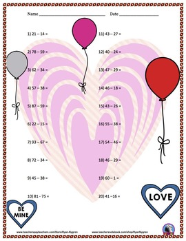Two Digit Subtraction Worksheets II - Valentine's Day Themed - Horizontal