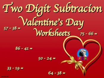 Two Digit Subtraction Worksheets II - Valentine's Day Them