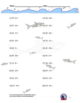Two Digit Subtraction Worksheets - Ocean Themed - Horizontal