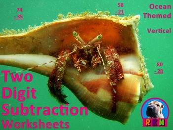 Two Digit Subtraction Worksheets - Ocean Themed (15 pages) vertical