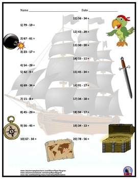 Two Digit Subtraction Worksheets - Pirate Themed - Horizontal