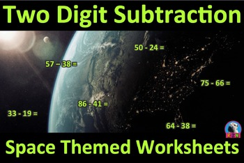 Two Digit Subtraction Worksheets - Space Themed - Horizontal