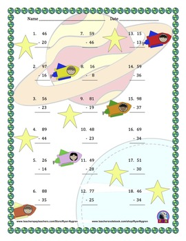 Two Digit Subtraction Worksheets - Space Themed - Vertical