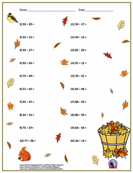 Two Digit Subtraction Worksheets - Thanksgiving/Fall Themed - Horizontal