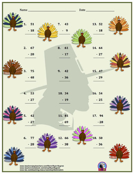 Two Digit Subtraction Worksheets - Thanksgiving/Fall Themed - Vertical